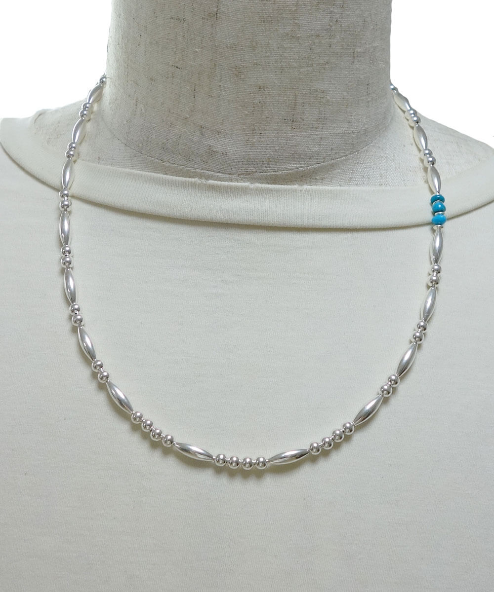 STERLING SILVER PIPE BEADS & TURQUOISE  NECKLACE(スターリングシルバーパイプビーズ&ターコイズネックレス)