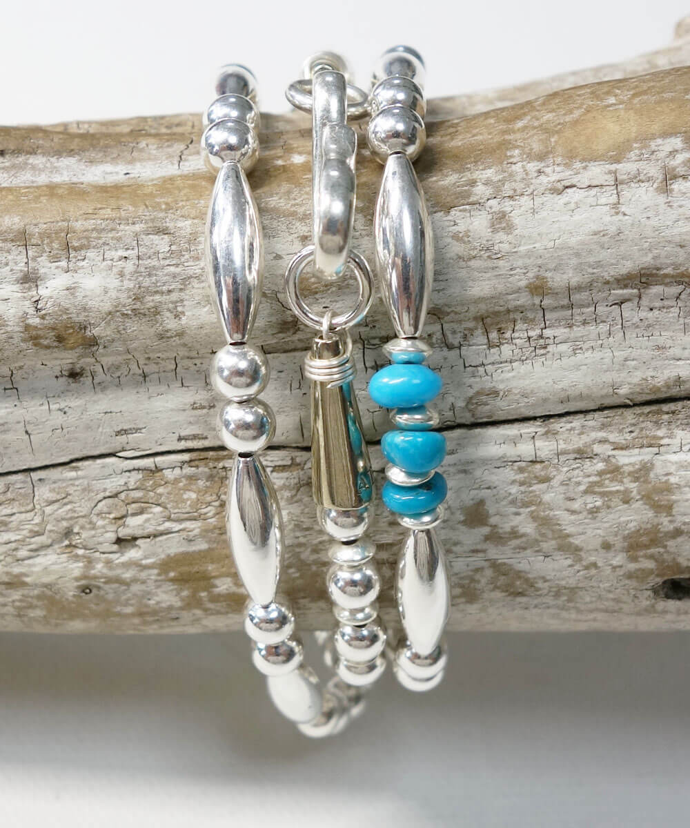 STERLING SILVER PIPE BEADS & TURQUOISE  NECKLACE(スターリングシルバーパイプビーズ&ターコイズネックレス)2
