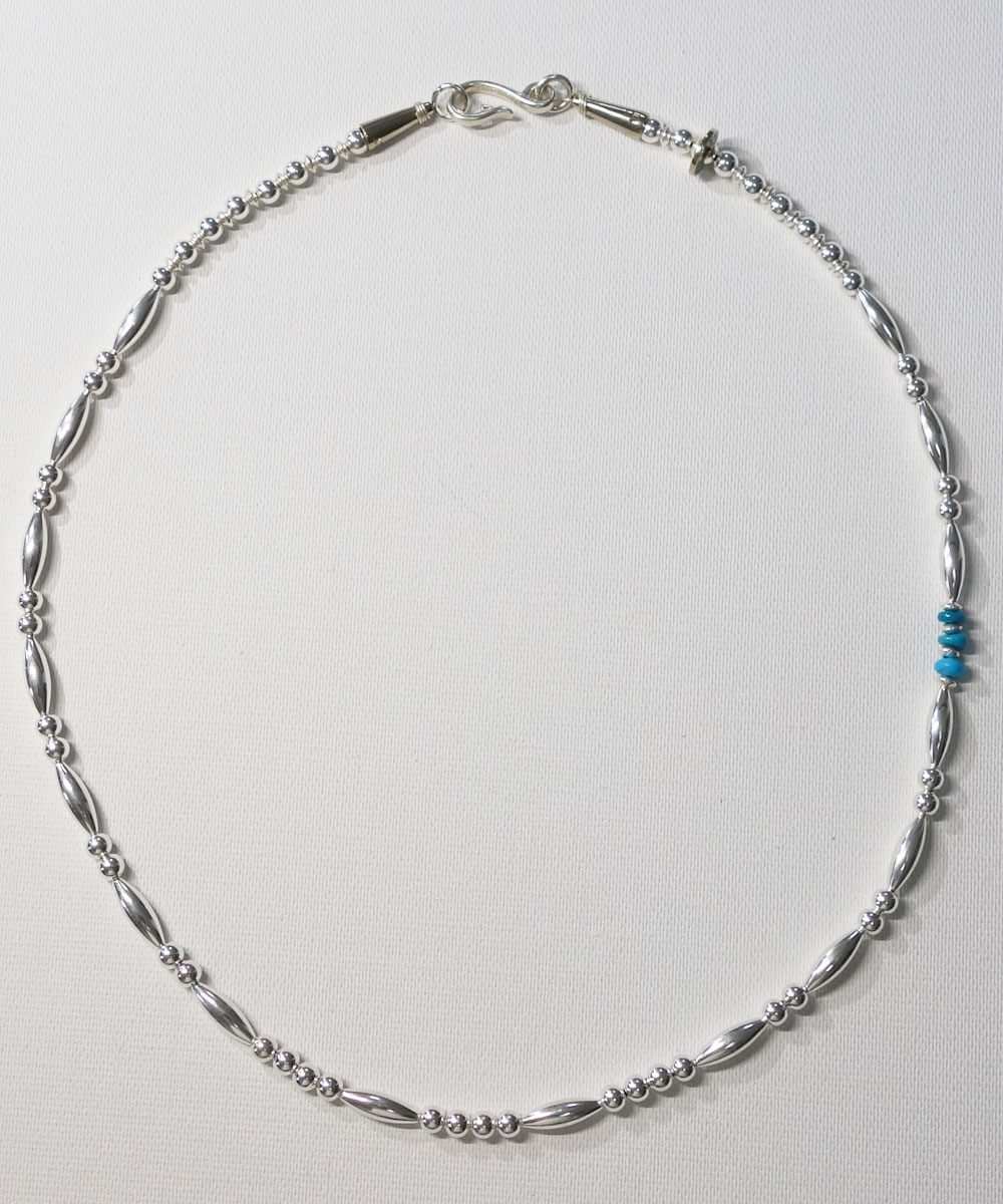STERLING SILVER PIPE BEADS & TURQUOISE  NECKLACE(スターリングシルバーパイプビーズ&ターコイズネックレス)3