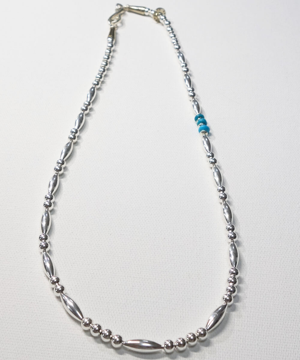 STERLING SILVER PIPE BEADS & TURQUOISE  NECKLACE(スターリングシルバーパイプビーズ&ターコイズネックレス)4