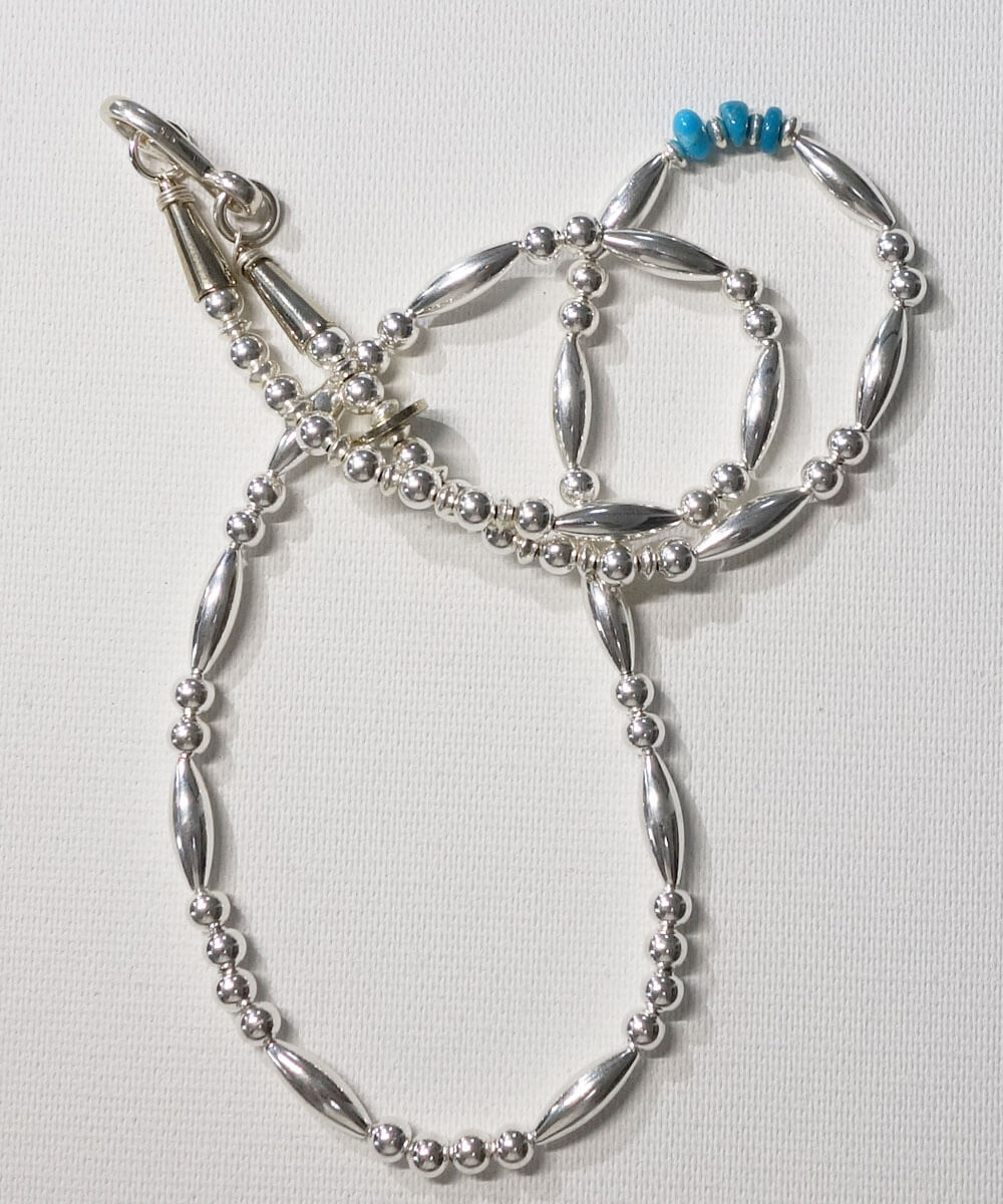 STERLING SILVER PIPE BEADS & TURQUOISE  NECKLACE(スターリングシルバーパイプビーズ&ターコイズネックレス)6
