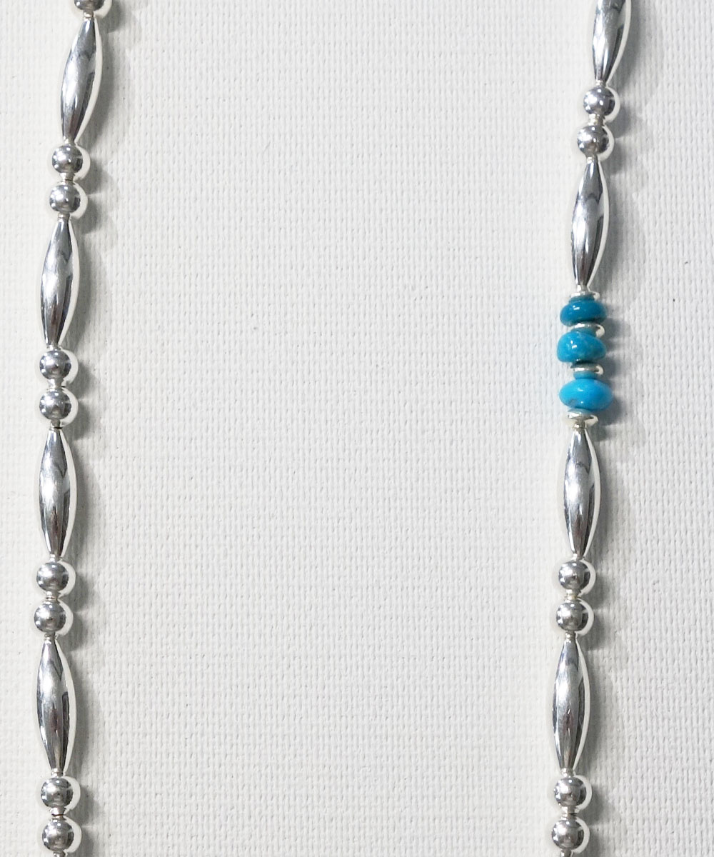 STERLING SILVER PIPE BEADS & TURQUOISE  NECKLACE(スターリングシルバーパイプビーズ&ターコイズネックレス)9
