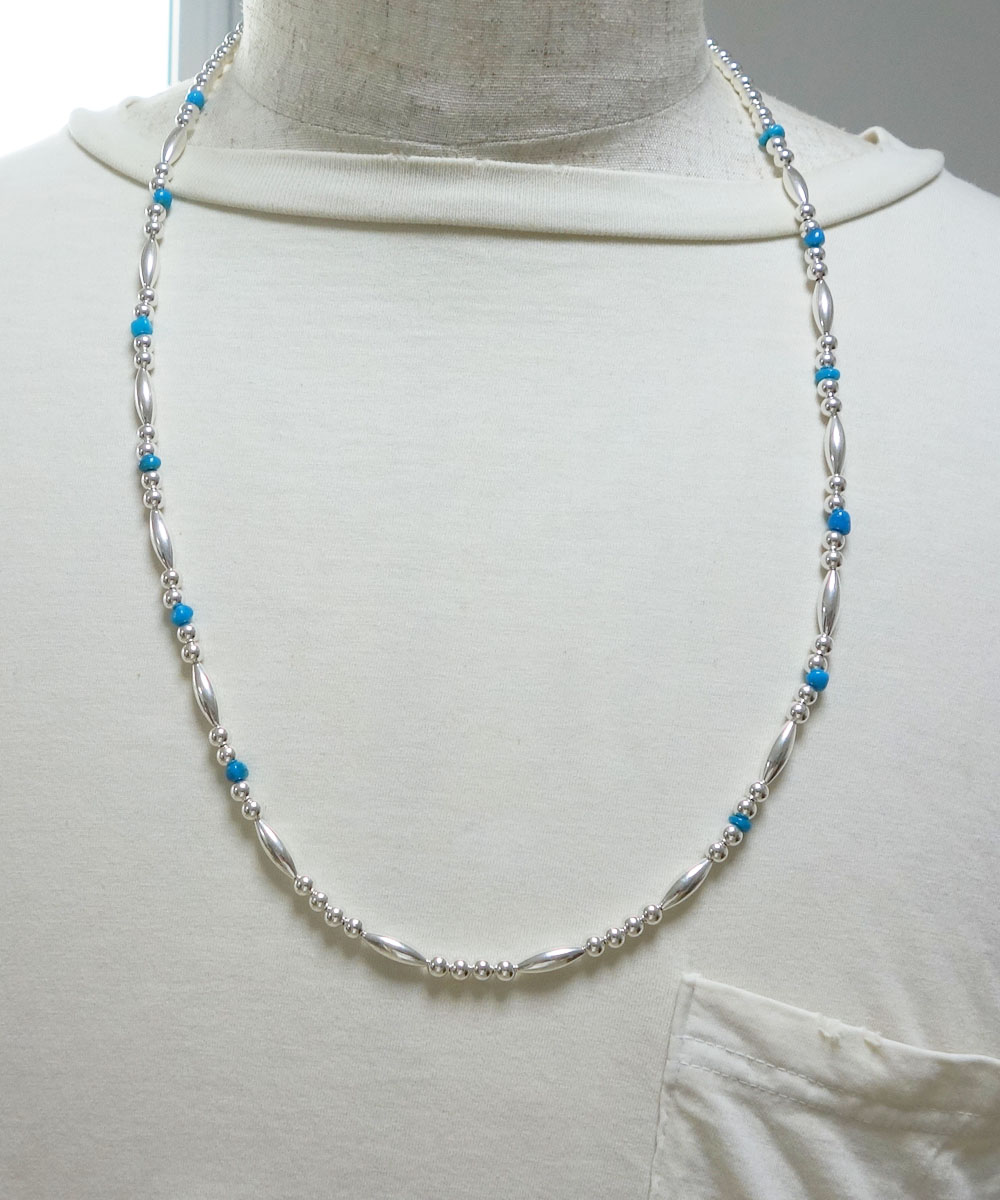 STERLING SILVER PIPE BEADS & TURQUOISE LONG  NECKLACE(スターリングシルバーパイプビーズ&ターコイズロングネックレス)