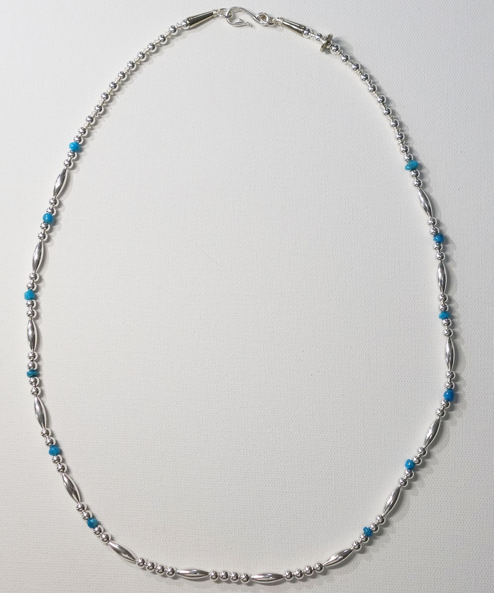 STERLING SILVER PIPE BEADS & TURQUOISE LONG  NECKLACE(スターリングシルバーパイプビーズ&ターコイズロングネックレス)  3