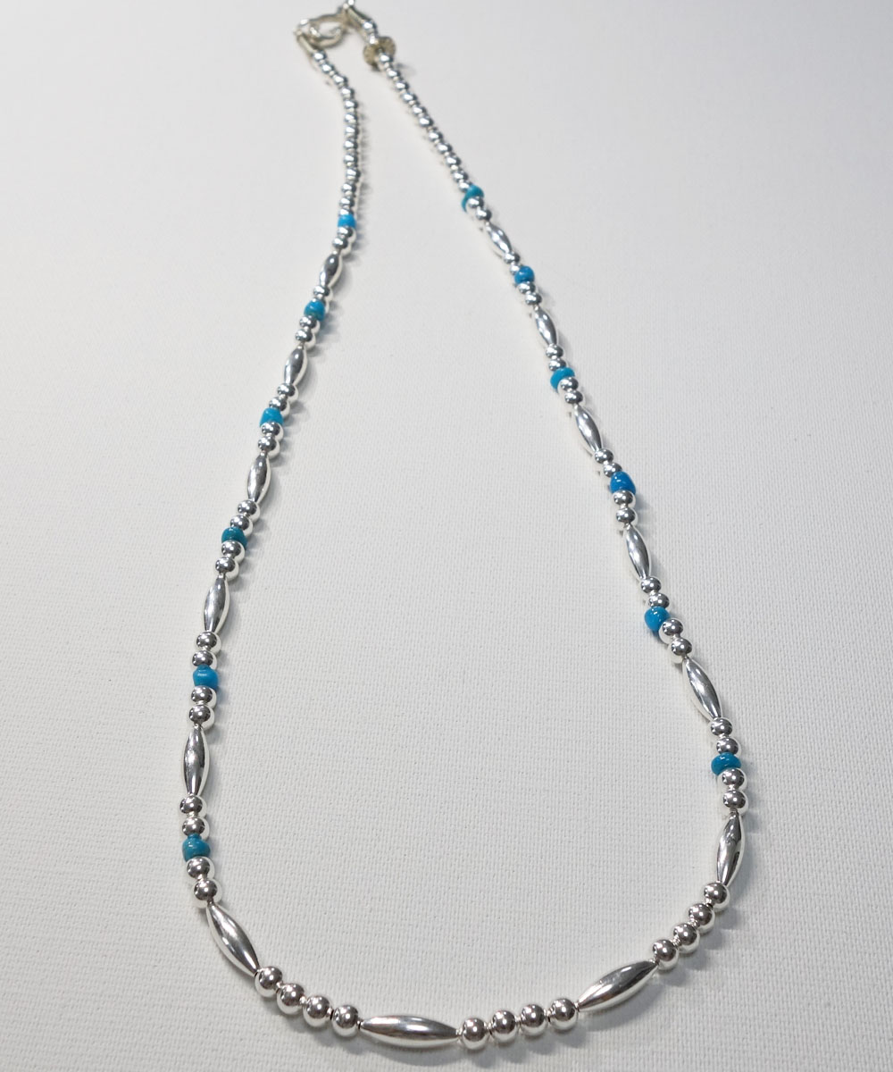 STERLING SILVER PIPE BEADS & TURQUOISE LONG  NECKLACE(スターリングシルバーパイプビーズ&ターコイズロングネックレス)  4