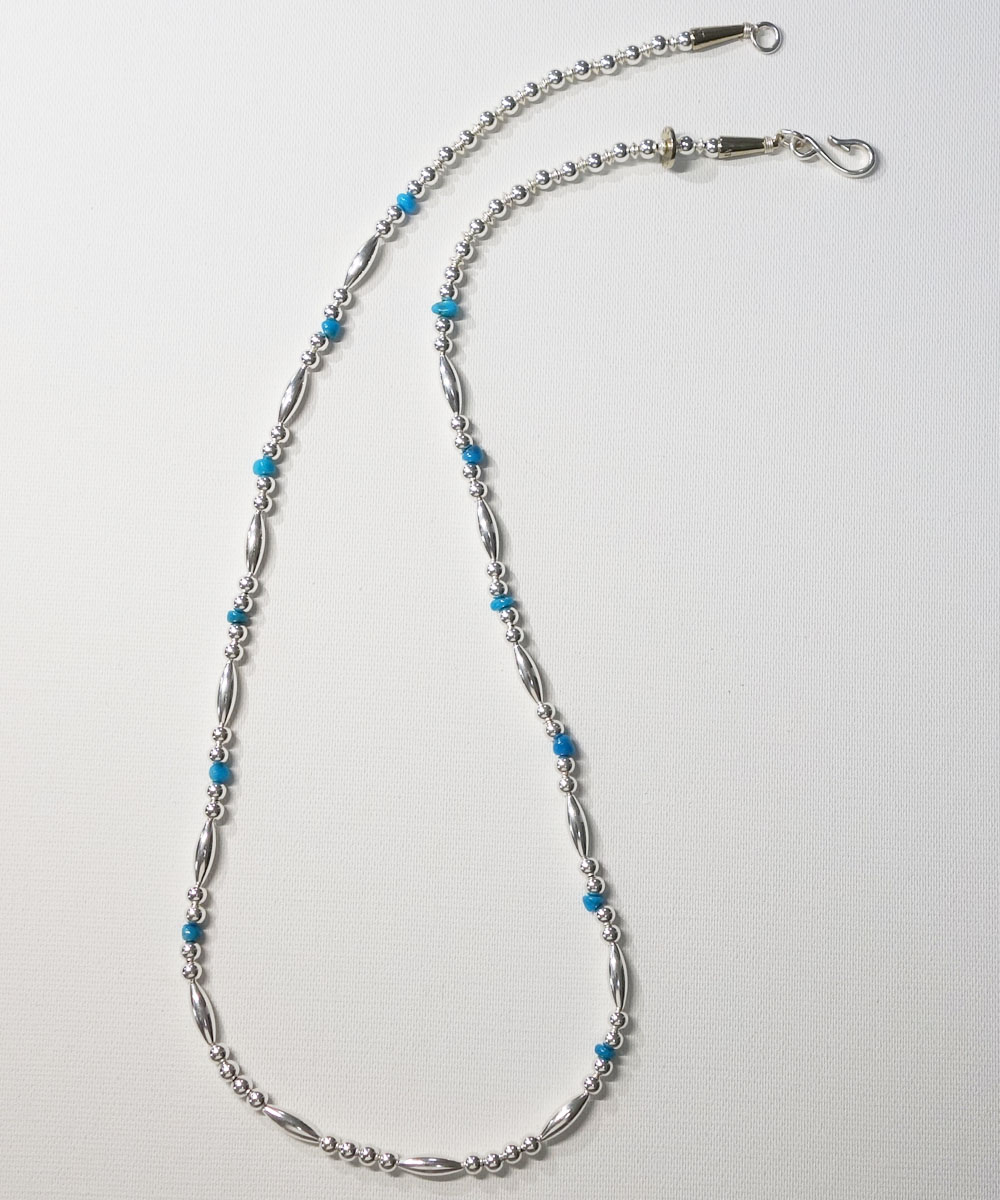 STERLING SILVER PIPE BEADS & TURQUOISE LONG  NECKLACE(スターリングシルバーパイプビーズ&ターコイズロングネックレス)  5