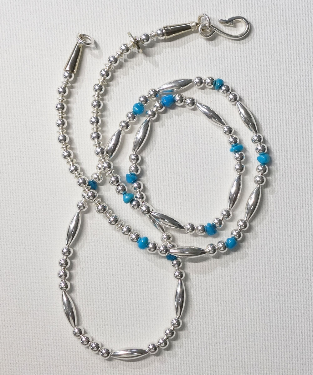 STERLING SILVER PIPE BEADS & TURQUOISE LONG  NECKLACE(スターリングシルバーパイプビーズ&ターコイズロングネックレス)  6