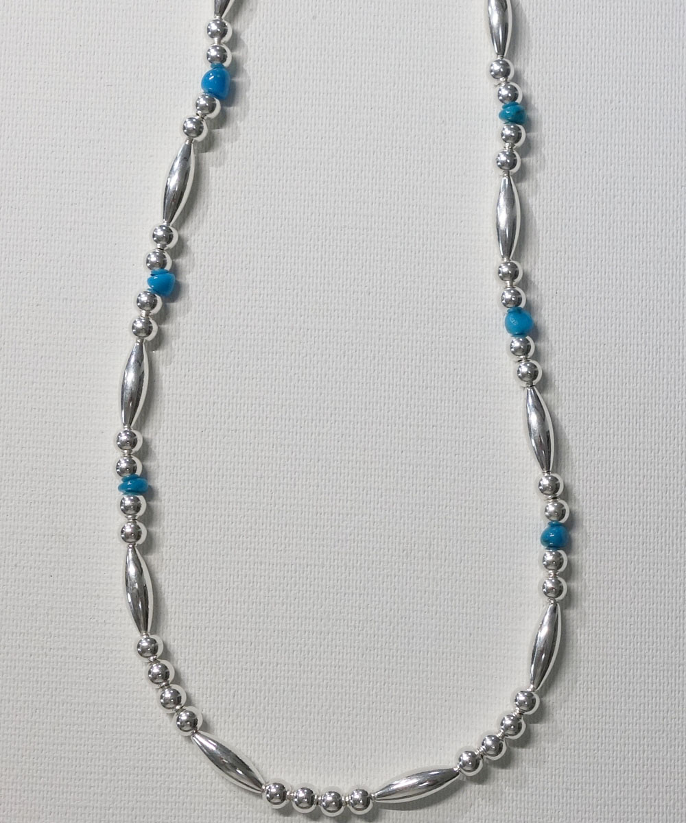 STERLING SILVER PIPE BEADS & TURQUOISE LONG  NECKLACE(スターリングシルバーパイプビーズ&ターコイズロングネックレス)  7