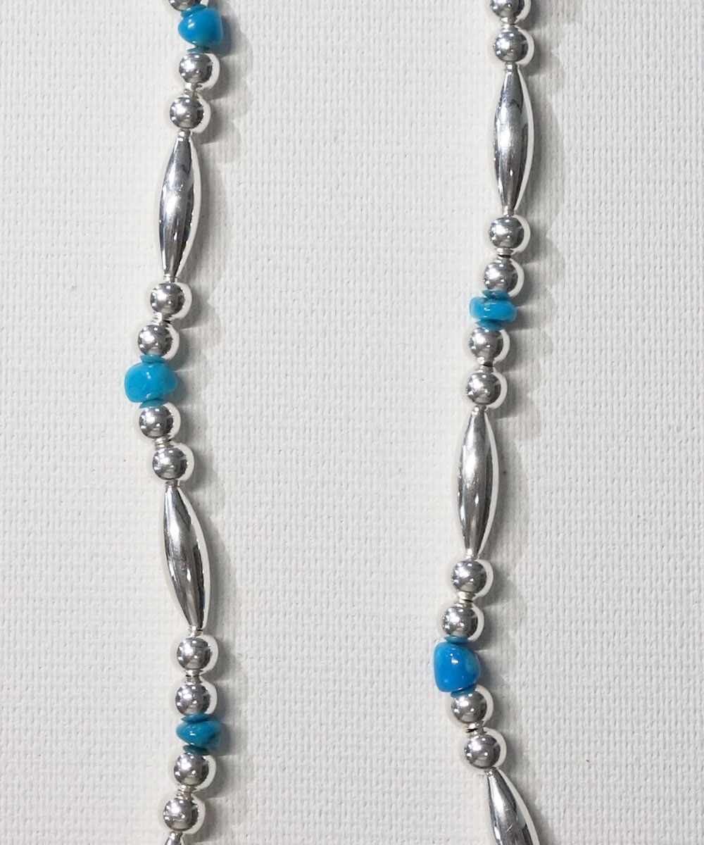 STERLING SILVER PIPE BEADS & TURQUOISE LONG  NECKLACE(スターリングシルバーパイプビーズ&ターコイズロングネックレス)  9
