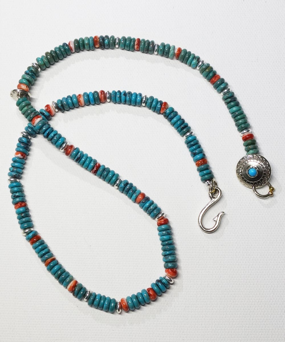 TURQUOISE & SPINY OYSTER SHELL NECKLACE(ターコイズ&スパイニーオイスターシェル ネックレス)10