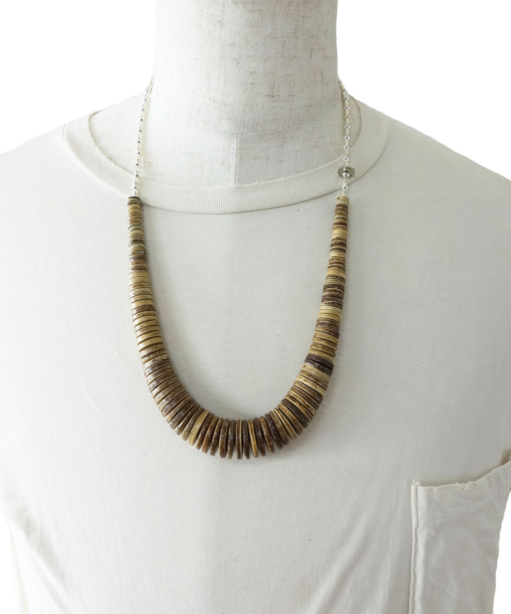 COCONUT WOOD BEADS&STERLINGSILVER BEADS NECKLACE(ココナッツウッドビーズ&スターリングシルバービーズネックレス)