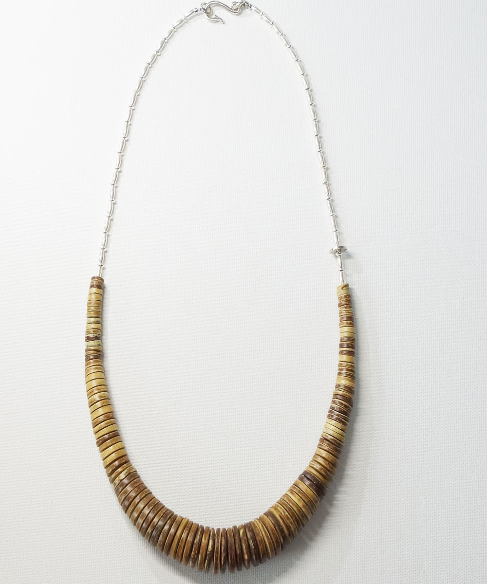 COCONUT WOOD BEADS&STERLINGSILVER BEADS NECKLACE(ココナッツウッドビーズ&スターリングシルバービーズネックレス)2