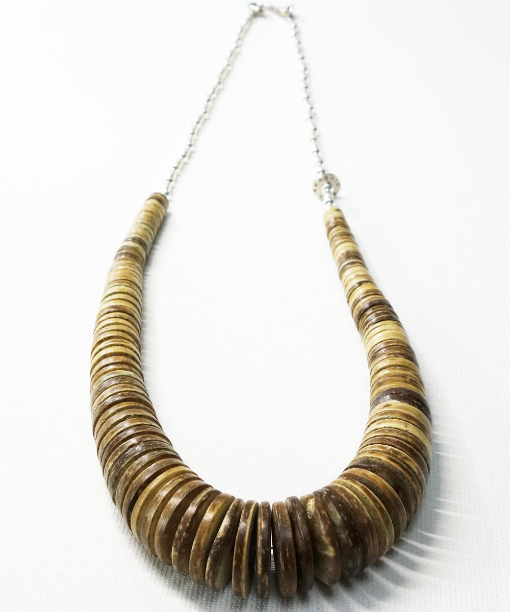 COCONUT WOOD BEADS&STERLINGSILVER BEADS NECKLACE(ココナッツウッドビーズ&スターリングシルバービーズネックレス)3