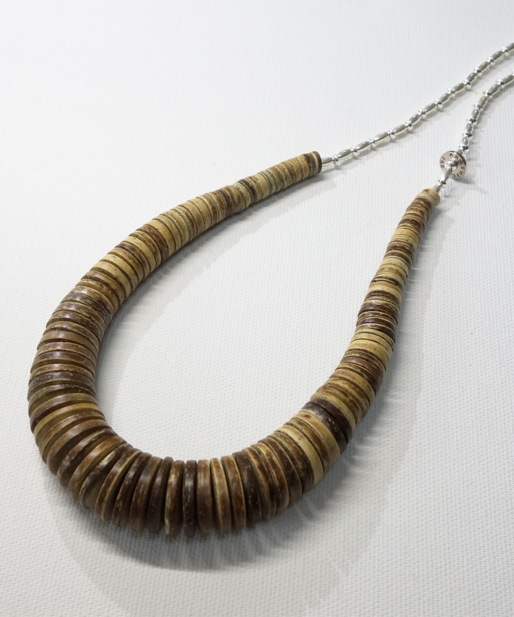COCONUT WOOD BEADS&STERLINGSILVER BEADS NECKLACE(ココナッツウッドビーズ&スターリングシルバービーズネックレス)4