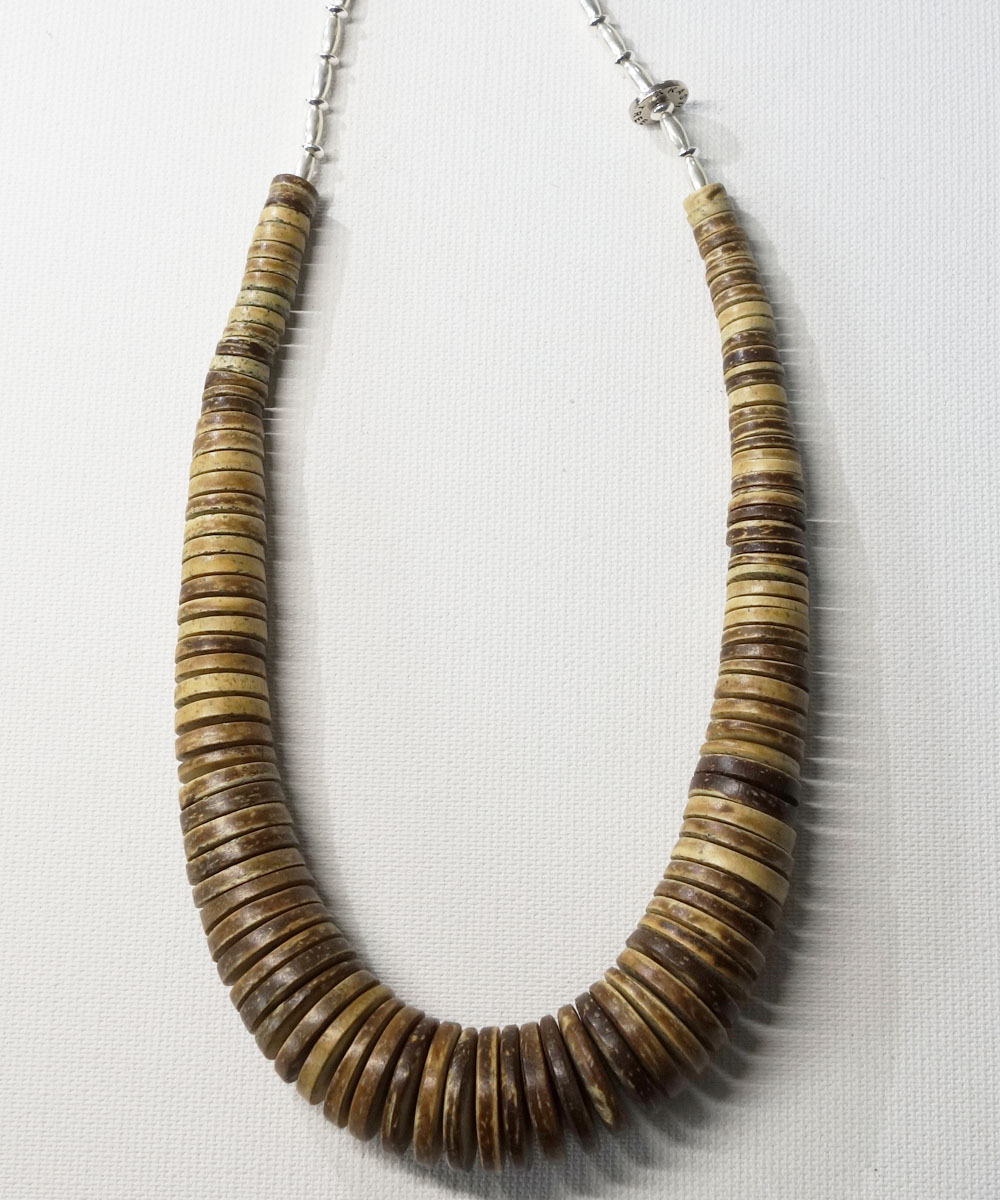 COCONUT WOOD BEADS&STERLINGSILVER BEADS NECKLACE(ココナッツウッドビーズ&スターリングシルバービーズネックレス)5