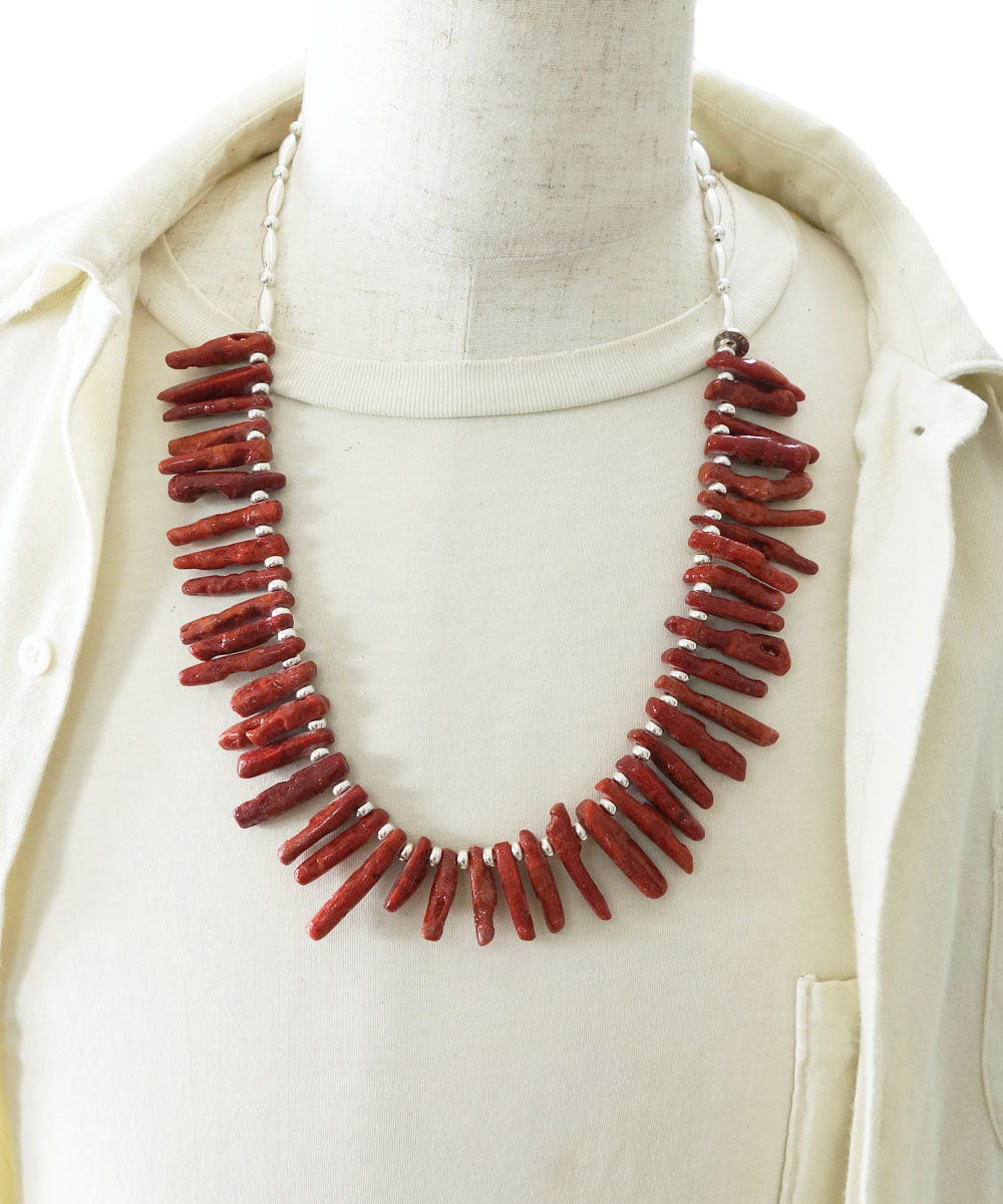 CORAL&STERLING SILVER BEADS NECKLACE(コーラル&スターリングシルバービーズネックレス)