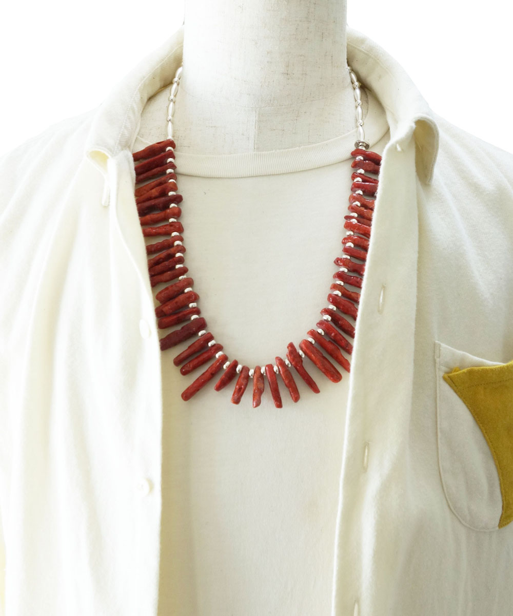 CORAL&STERLING SILVER BEADS NECKLACE(コーラル&スターリングシルバービーズネックレス)2