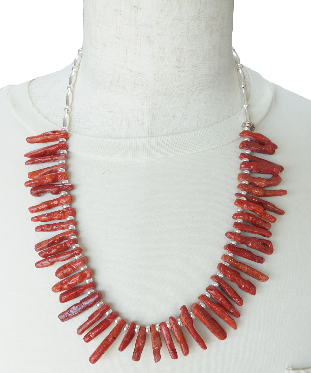 CORAL&STERLING SILVER BEADS NECKLACE(コーラル&スターリングシルバービーズネックレス)3