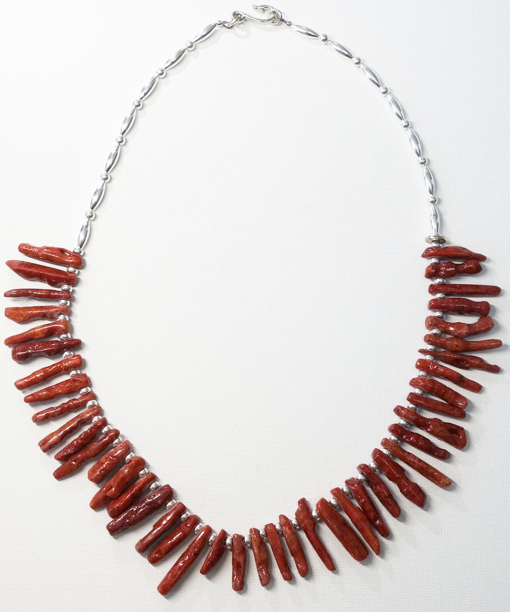 CORAL&STERLING SILVER BEADS NECKLACE(コーラル&スターリングシルバービーズネックレス)5