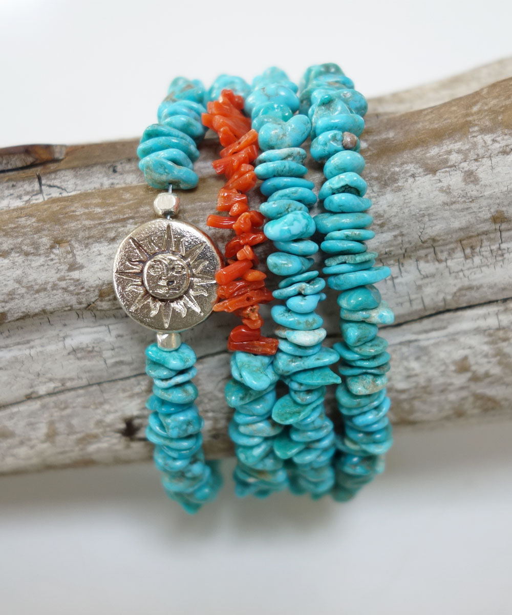 TURQUOISE(ターコイズ)&CORAL LONG NECKLACE(コーラルロングネックレス)