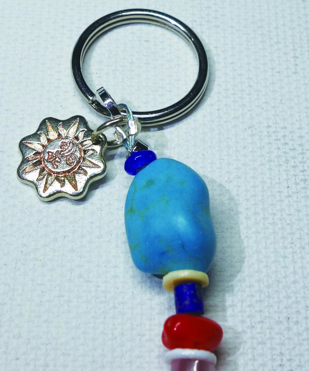 MULTI COLOR KEY RING(マルチカラーキーリング)Top-Natural Stone(TURQUOISE)2