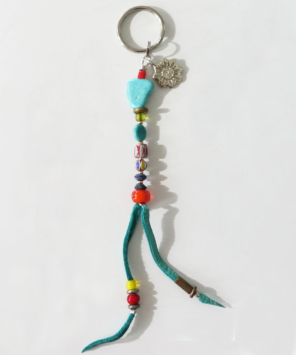 MALTI COLOR KEY RING(マルチカラーキーリング) Top-Natural Stone (TURQUOISE)